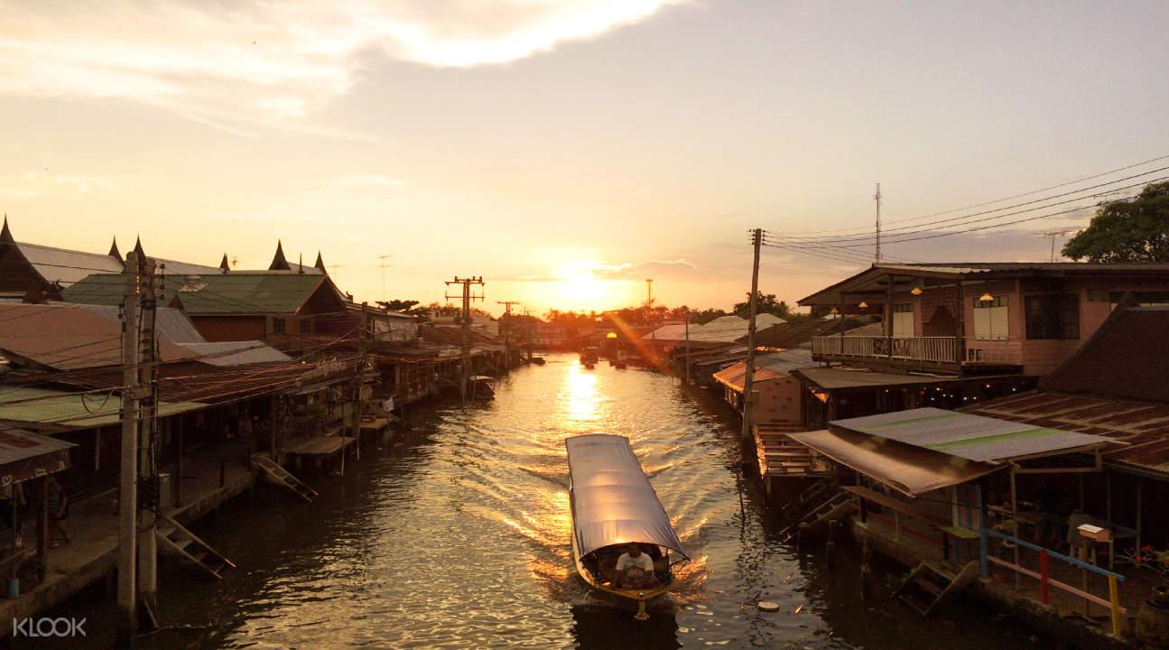sunset in floating market bangkok